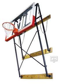 Gared Fold-Up, Wall Mounted Basketball Backstop with Backboard and Goal