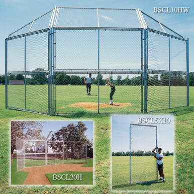 Chain Link Backstop-10' w/Hood & Wings
