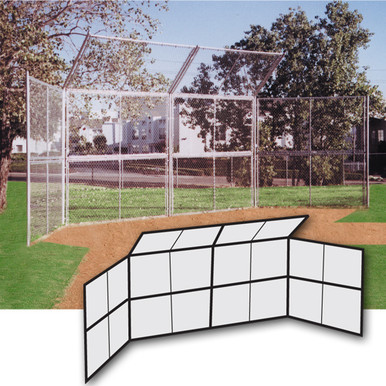 Chain Link Backstop-20' w/Hood-No Wings