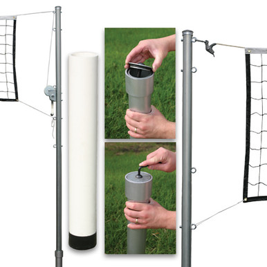 Outdoor Volleyball Set Steel Top Cable Net - PVC Ground Sleeves/No Cap