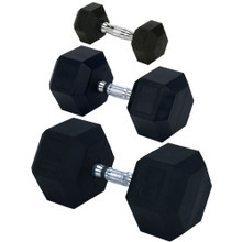 Rubber Encased Solid Hex Dumbbell 65lb
