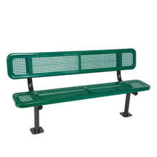 6' Bench w/ Back -Surface Mnt Perforated