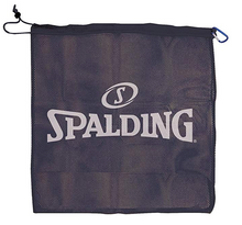 Spalding Single Ball Mesh Carrier, Black w/ White Logo
