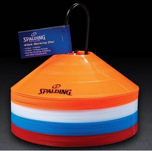 Spalding 40 Pack Discs, Red, White, Blue and Orange with Holder