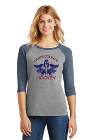 Women's 3/4-Sleeve Raglan - Navy/Gray
