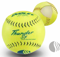Dudley Blue Stitch USSSA Thunder SY Synthetic Yellow Slow Pitch Softball - per dozen