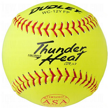 "Dudley ASA Thunder Heat 12"" Fast Pitch Softball -  ZN Composite Cover - per dozen"