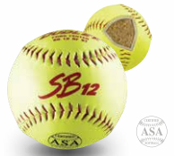 "Dudley 12T ASA Slowpitch 12"" Cork Center Softball - per dozen"