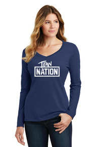 Women's Titan Nation Long Sleeve V-Neck Tee