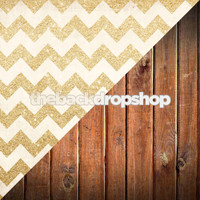 Gold Glitter Chevron Backdrop / Wood Floor Backdrop - Items 1984 & 1111