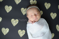 Gold Glitter Hearts Photography Backdrop - Item 2206