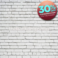 CLEARANCE - VINYL 3ft x 3ft White Brick Wall Backdrop for Photos or Brick Floor Mat for Studio Photography - Item 1444