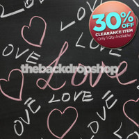 CLEARANCE - VINYL 4ft x 4ft Chalkboard Backdrop for Pictures - Love and Heart Written Photography Drop - Vinyl or Poly - Item 1574