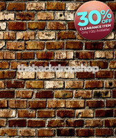 CLEARANCE - VINYL 4ft x 5ft Brick Wall Backdrop - Brown Brick Photography Back Drop or Floor Drop - Item 1098