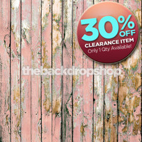 CLEARANCE - VINYL 5ft x 5ft Shabby Pink Wood Floor Drop – Peeling Pink Painted Wood Backdrop for Photos – Item 1796