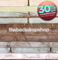 CLEARANCE - VINYL 4ft x 4ft Pastel Painted Wood Backdrop for Photography - Wood Floor Drop for Pictures - Item 1472