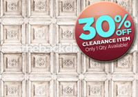 CLEARANCE - VINYL 7ft x 5ft Shabby White Ornate Old Carved Wood Wall Photography Backdrop - Exclusive Design - Item 1881