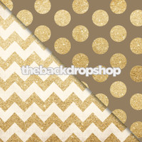 Gold Glitter Chevron  / Brown and Gold Glitter Dot Backdrop - Items 1984 & 2133