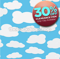 CLEARANCE - VINYL - 7ft x 7ft Childrens Photography Backdrop for Pictures - Clouds Photo Backdrop - Backdrop for Kids Pictures - Item 329