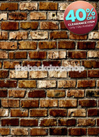 CLEARANCE - POLY - 5ft x 7ft Brick Wall Backdrop - Brown Brick Photography Back Drop or Floor Drop - Item 1098
