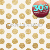 CLEARANCE - POLY - 5ft x 5ft Gold Glitter Dot Backdrop - Polka Dot Photo Background - Holiday Back Drop - Exclusive Design - Item 2120