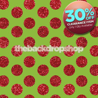 CLEARANCE - VINYL - 5ft x 5ft Christmas Backdrop - Green and Red Glitter Dot Backdrop - Polka Dot Photo Background - Exclusive Design - Item 2121