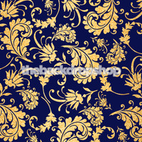 Blue and Gold Floral Wallpaper Patterned Photography Backdrop - Item 2191