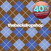 CLEARANCE - POLY - 4ft X 4ft Photo Backdrop Blue and Brown Argyle Backdrop - Item 110