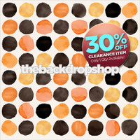 CLEARANCE - VINYL -  7ft x 7ft Halloween Photography Backdrop - Orange and Black Dots Photo Background - Holiday Back Drop - Exclusive Design - Item 2136