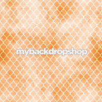 Orange and White Distressed Quatrefoil Tile Photography Backdrop - Item 3051