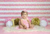 Pink and White Gold Glitter Stripe Photography Backdrop - Item 3124