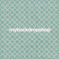 Light Blue Tile Photography Backdrop - Distressed Quatrefoil Photo Prop - Item 3149