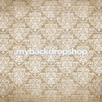 Neutral Damask Photography Backdrop - Damask Pattern Wallpaper Over Letters - Love Letter Photography Backdrop - Item 3153