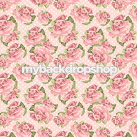 Vintage Pink and Burgundy Floral Wallpaper Backdrop - Flower Backdrop for Photos - Item 3157