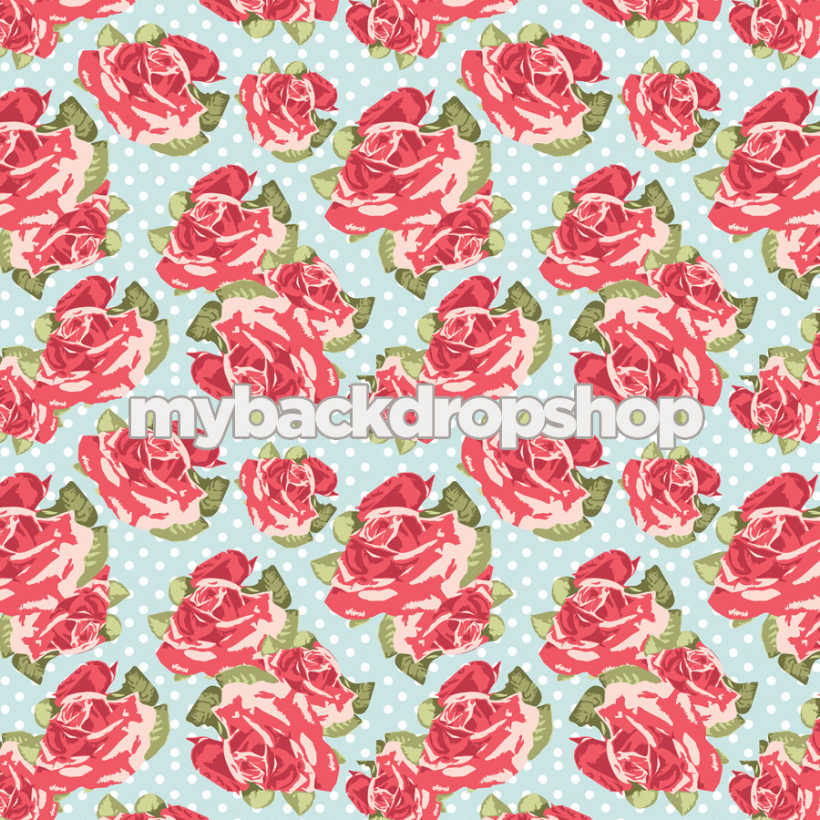 Vintage Pink And Blue Floral Wallpaper Backdrop Flower Backdrop