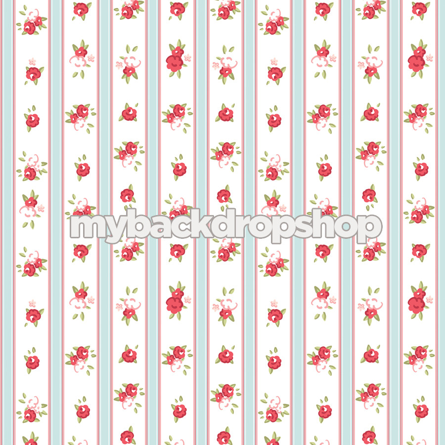 White And Blue Striped Floral Wallpaper Photography Backdrop Red