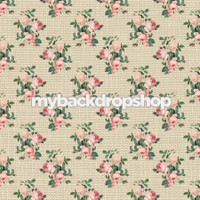 Pink Rose Floral Linen Wallpaper Backdrop - Item 3171