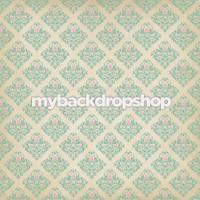 Blue Pastel Damask Pattern Photography Backdrop - Pink and Blue Newborn Photography Prop - Item 3174