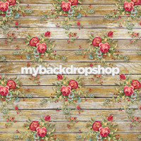 Distressed Antique Blue Rose Bud Photography Backdrop - Rough Floral Wood Floor Drop - Item 3195