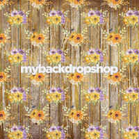 Distressed Yellow and Purple Flower Photography Backdrop - Rough Floral Wood Floor Drop - Item 3196