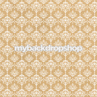 Beige Damask Wallpaper Photo Prop - Tan Damask Patterned Photography Backdrop - Item 3218