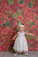 Red Christmas Poinsettia Floral Photography Backdrop - Item 5001
