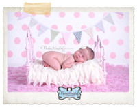 Little Girl Photo Shoot Backdrop - Pink Polka Dot Vinyl Backdrop  - Item 127
