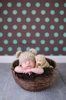 Brown and Turquoise Polka Dot Photography Background for Phoot Shoots - Wedding Photo Backdrop or Infant Phot Back Drop - Item 337