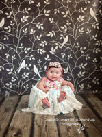 Brown Floral Backdrop - Trees Leaves and Birds Photo Backdrop for Studio Photography - Item 461