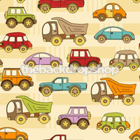 Colorful Car and Dumptruck Theme Backdrop for Young Boys - Item 478