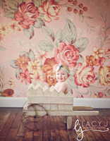 Shabby Chic Wallpaper Studio Background - Pink Floral Photo Backdrop - Item 614