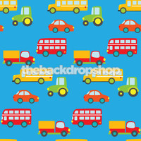 Car Theme Photography Backdrop for Childrens Pictures - Blue  Backdrop - Item 678