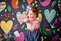 Fun Pink and Yellow Heart Theme Backdrop for Kids - Item 881