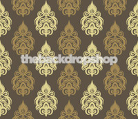 Fancy Brown Damask Wallpaper Backdrop for Photography  - Item 884